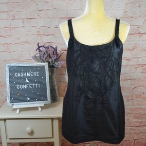 Eileen Fisher Silk Black Blouse Embroidery EUC A5